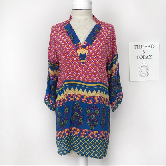 Anthropologie Tops - Tolani Anthropologie Boho Silk Tunic